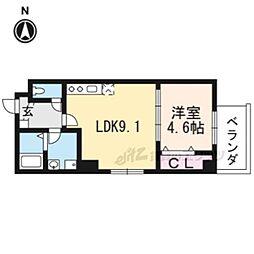 京都市営烏丸線 五条駅 徒歩8分の賃貸マンション 1階1LDKの間取り