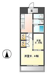 Sun Heart 池下(サンハート)[6階]の間取り