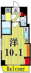 ゲートフィールド浅草東駒形 4階ワンルームの間取り