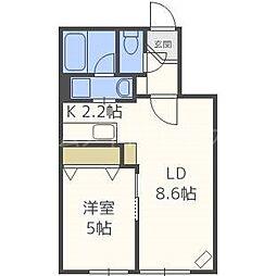 AKUBI 東札幌[1階]の間取り