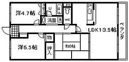 メゾン羽倉崎 新川第4マンション[208号室]の間取り