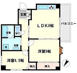 サクセスパレス桜塚[4階]の間取り