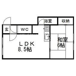 オレンジハウスC[1階]の間取り