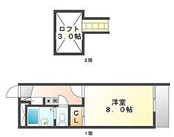 広島県尾道市平原4丁目の賃貸アパートの間取り