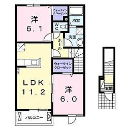 茨城県石岡市若松3丁目の賃貸アパートの間取り
