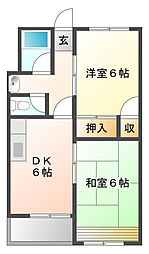 西甲子園ハイツ[3階]の間取り