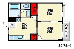 福岡県大野城市乙金1丁目の賃貸アパートの間取り