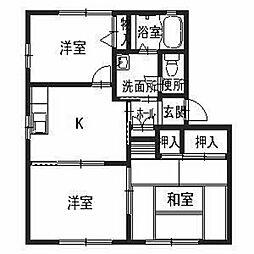 兵庫県姫路市青山3丁目の賃貸アパートの間取り