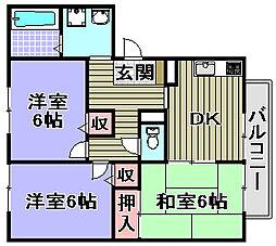 コスミック東山[102号室]の間取り