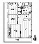3LDKの間取り図。南西角部屋・L字型バルコニーで陽当り通風良好です。