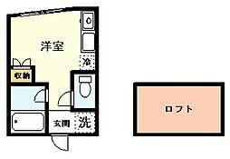 プライムテラス立川羽衣町 1階ワンルームの間取り