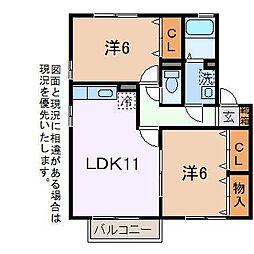 プリマヴェーラAB(昭和町)[2階]の間取り