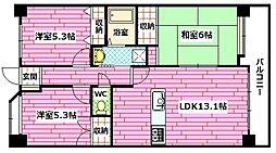 広島県広島市安佐南区大町東3丁目の賃貸マンションの間取り