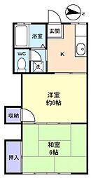 コーポ勝田台[2階]の間取り