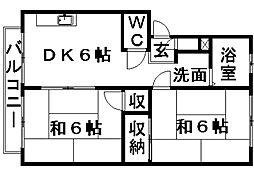 サンシティA&K[2階]の間取り