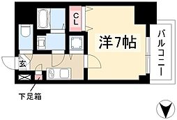 エスプレイス鶴舞ガーデンテラス 5階1Kの間取り