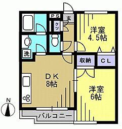 ピアーチェウチムラパート8[105kk号室]の間取り