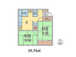 千葉県松戸市串崎新田の賃貸アパートの間取り