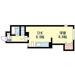 札幌市営東西線 琴似駅 徒歩10分の賃貸マンション 3階1DKの間取り