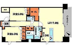 サンマークス大日ステーションレジデンス 7階2LDKの間取り