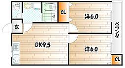 オーク高野 B棟[1階]の間取り