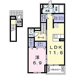 愛知県一宮市大和町妙興寺字坊ケ池の賃貸アパートの間取り