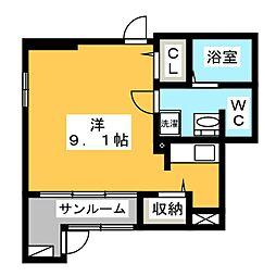静岡県静岡市清水区八坂東1丁目の賃貸アパートの間取り