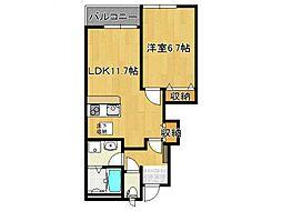 奈良県御所市櫛羅の賃貸アパートの間取り