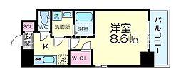 ワールドアイ江坂アルバ 2階1Kの間取り