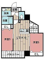 LE GRAND BLEU HAKATA 5階2LDKの間取り