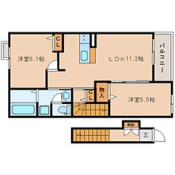 JR東海道本線 焼津駅 バス17分 石津西公園前下車 徒歩3分の賃貸アパート 2階2LDKの間取り