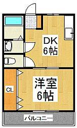コーポラスミハラIII[2階]の間取り
