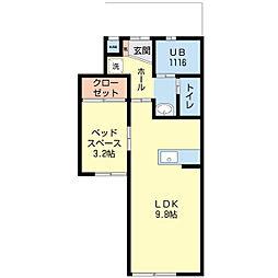 新潟県新潟市中央区天神2丁目の賃貸アパートの間取り