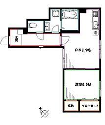 JR中央本線 三鷹駅 徒歩17分の賃貸アパート 1階1DKの間取り