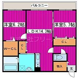 JR函館本線 星置駅 徒歩18分の賃貸マンション 3階2LDKの間取り