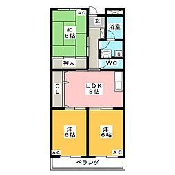 愛知県岡崎市江口2丁目の賃貸マンションの間取り