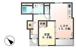 JR日豊本線 国分駅 徒歩12分の賃貸アパート 1階1LDKの間取り
