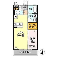 ディイゾラ北野田[1階]の間取り