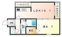 Osaka Metro今里筋線 清水駅 徒歩14分の賃貸アパート 2階1LDKの間取り