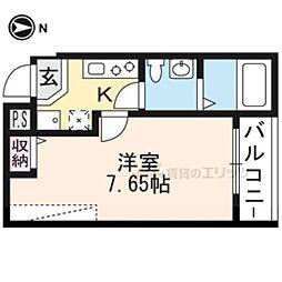 JR山陰本線 二条駅 徒歩16分の賃貸マンション 3階1Kの間取り