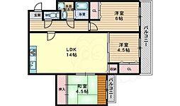 JR東海道・山陽本線 吹田駅 徒歩16分の賃貸マンション 2階3LDKの間取り