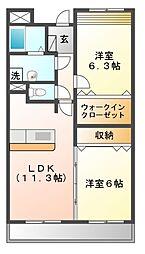 大阪府豊中市庄内東町6丁目の賃貸マンションの間取り