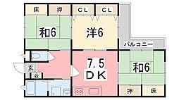 兵庫県姫路市香寺町広瀬の賃貸マンションの間取り