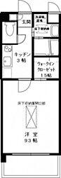 JR山陽本線 広島駅 徒歩27分の賃貸マンション 2階1Kの間取り