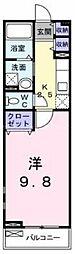 岡山県岡山市北区法界院の賃貸アパートの間取り