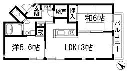 兵庫県川西市加茂1丁目の賃貸マンションの間取り