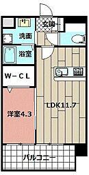 malvarosa 7階1LDKの間取り