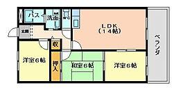 大阪府大阪市平野区平野馬場2丁目の賃貸マンションの間取り