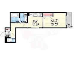 仮)北向陽町プロジェクト 4階1DKの間取り