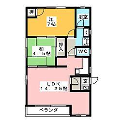 リビングルーム上中居[2階]の間取り